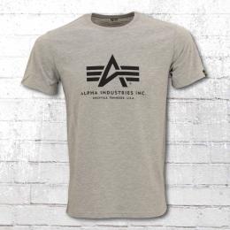 Alpha Industries Herren T-Shirt Basic T grau meliert