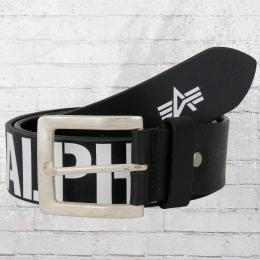 Alpha Industries Ledergürtel Embossed Logo schwarz