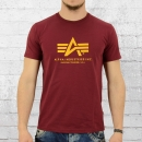 Alpha Industries T-Shirt Männer Basic T weinrot