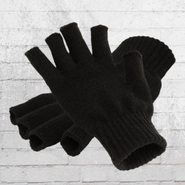 Beechfield Fingerlose Strick Handschuhe schwarz
