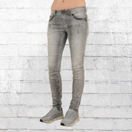 Blue Monkey Damen Schlangen Jeans Hose Laura grau