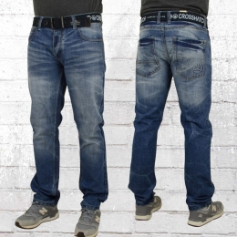 Cross Hatch Herren Jeans Hose New Embossed blau