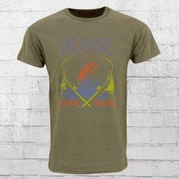 Derbe Angler T-Shirt Herren Gone Fishin oliv meliert