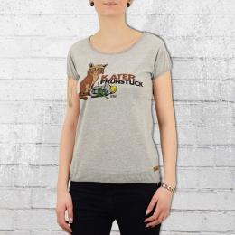 Derbe Damen T-Shirt Katerfrühstück grau melange
