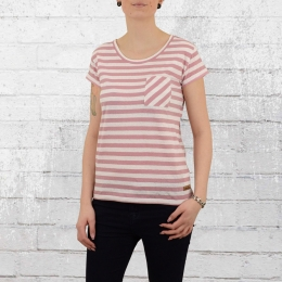Derbe Damen T-Shirt Vivian Stripe mit Leinen rose weiss