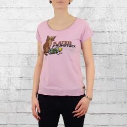 Derbe Frauen T-Shirt Katerfrühstück flieder