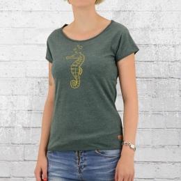 Derbe Frauen T-Shirt Seepferdchen grün melange