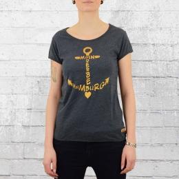 Derbe Hamburg Damen T-Shirt Seaside blau grau meliert