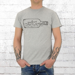 Derbe Hamburg Männer T-Shirt Flaschenpost grau