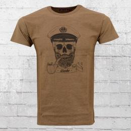 Derbe Hamburg Männer T-Shirt Spooky Captain braun