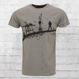 Derbe Hamburg T-Shirt Hafenschiffer grau meliert