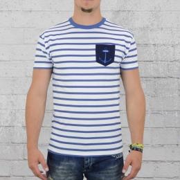 Derbe Hamburg T-Shirt Herren Pocket Tee weiss blau