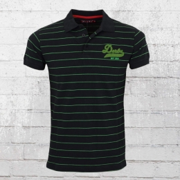 Derbe Herren College Striped Polo Shirt schwarz