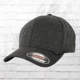 Flexfit Cap Herringbone Kappe grau schwarz