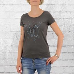 Greenbomb Damen Fahrrad T-Shirt Bike Flowers grau