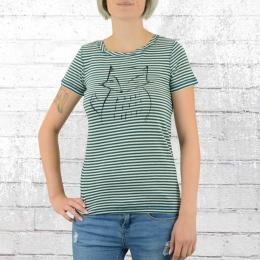 Greenbomb Damen T-Shirt Animal Fox petrol grün weiss gestreift