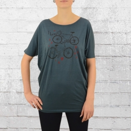 Greenbomb Frauen Fahrrad T-Shirt Bike Love petrolblau