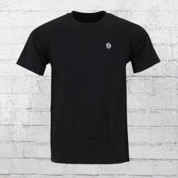 Hooligan Herren T-Shirt Casual Stickerei schwarz