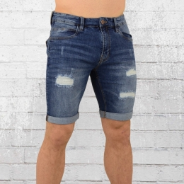 Indicode Männer Jeans Short Kaden Holes blau