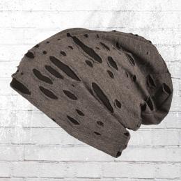 Intermoda Winter Mütze Beanie Vintage Look dunkelgrau