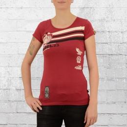 Label 23 Damen T-Shirt Retro dunkel rot