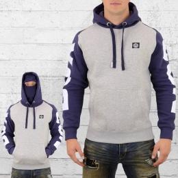 Label 23 Herren Kapuzensweater Fight mit Sturmhaube grau