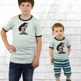 Logoshirt Kinder T-Shirt Der Kleine Maulwurf blau grau