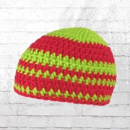 Muttis Häkelmütze Beanie Strick-Mütze lime pink
