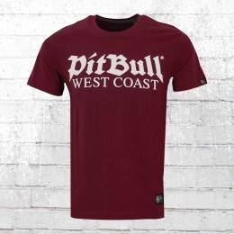 Pit Bull West Coast Herren T-Shirt Old Logo weinrot