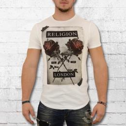 Religion Clothing T-Shirt Männer Cross Rose weiss