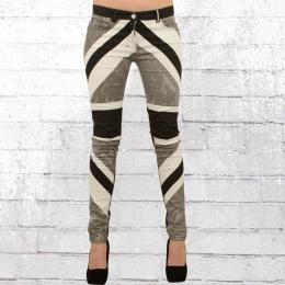 Religion Damen Skinny Jeans Hose Union Jack schwarz grau weiss