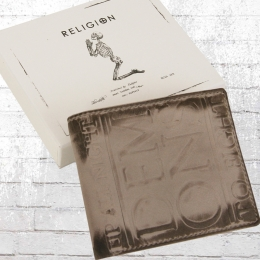 Religion Echt Leder Portemonnaie Demons Wallet grau