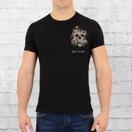 Religion T-Shirt Mit Brusttasche Pocket Print Skull schwarz