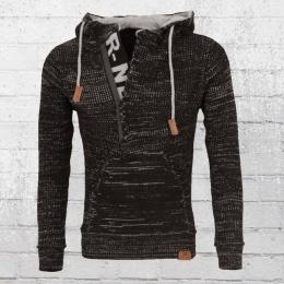 Rusty Neal Herren Strick-Sweater Mit Kapuze schwarz grau