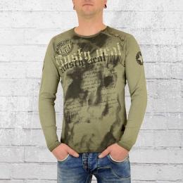 Rusty Neal Männer Langarm T-Shirt No Mercy oliv grün