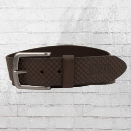 Rusty Neal Leather Belt Check Pattern brown