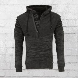Rusty Neal Strick-Pullover Herren Mit Kapuze grau schwarz