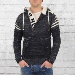 Rusty Neal Strick Pullover mit Kapuze Herren Sweater blau