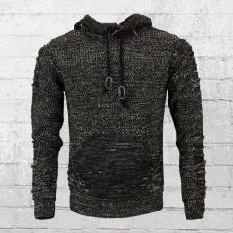 Rusty Neal Strick Sweater mit Kapuze schwarz