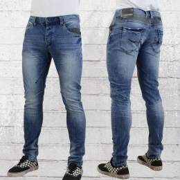 Trueprodigy Herren Skinny Röhren Jeanshose Vex blau verwaschen