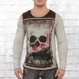 Trueprodigy Männer Langarm T-Shirt Large Skull Longsleeve grau