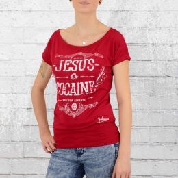 Yakuza Frauen T-Shirt Jesus or Cocaine GSB 9105 rot