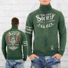 Yakuza Herren Sweat Jacke Violent Society vintage grün