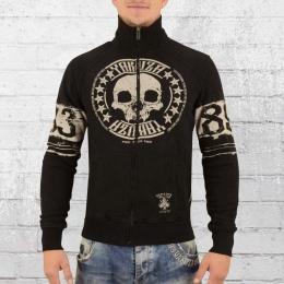 Yakuza Herren Sweatjacke Skull Label 10031 schwarz