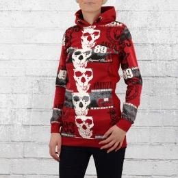 Yakuza Damen Kapuzen Sweater Reel Flex Long Hoody rot