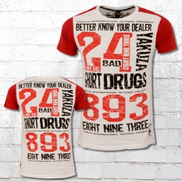 Yakuza Männer T-Shirt Know Your Dealer 2 10013 weiss rot