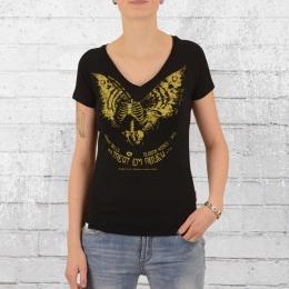 Yakuza Premium Frauen V-Neck T-Shirt Moth Skeleton 2336 schwarz