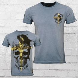 Yakuza Premium Herren T-Shirt Cross Skull vintage blau