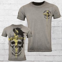 Yakuza Premium Herren T-Shirt Cross Skull vintage grau