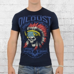 Yakuza Premium Herren T-Shirt Indian Skull dunkel blau